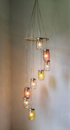 Pink Lemonade - Mason Jar Chandelier Hanging Light Fixture - Spiral Waterfall Rustic Mason Jar Wedding Lighting - BootsNGus Lamp Design. $210.00, via Etsy.