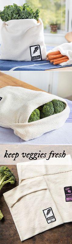 This ingenious vegetable bag keeps produce crisp and fresh longer. More