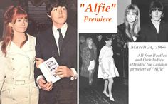 The Beatles attending the 1966 premiere of 'Alfie', the hit movie that Paul's girlfriend Jane Asher appeared in with Michael Caine. Beatles Guitar, The Beatles, John Lennon Walk, Sonny Rollins, Jane Asher, Pattie Boyd, Lady Jane, She Loves You, London Theatre