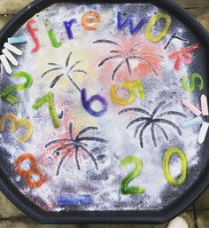Firework tuff tray Bonfire night Eyfs Children's activities Tuff tray activities Salt , glitter , numbers , chalk Mark making Bonfire Night Activities, Bonfire Night Crafts, Bonfire Ideas, Fireworks Craft For Kids, Happy New Year Fireworks, Diwali Fireworks, Fireworks Art, Diwali Activities, Autumn Activities