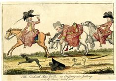 They are perhaps intended for the 'Three Graces of Coxheath', see BMSat 5600, in which case 'Tumbling Jenny' would be Jane Maxwell, Duchess of Gordon ('Jenny of Monteith') FOR DESCRIPTION SEE GEORGE (BMSat)   Hand-coloured etching