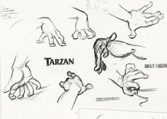 Enjoy a gallery of 100 Original Concept Art, Character Design & Sketches for classic Disney movie Tarzan. Cartoon Sketches, Disney Sketches, Disney Drawings, Tarzan, Hand Drawing Reference, Anatomy Reference, Drawing Hands, Drawing Poses, Disney Concept Art