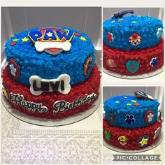 #PawPatrol #Birthday #Cake I made for my nephew. I didn't make the fondant Paw Patrol badge or the smaller badges; I ordered them from EdiblePerfections on Etsy.
