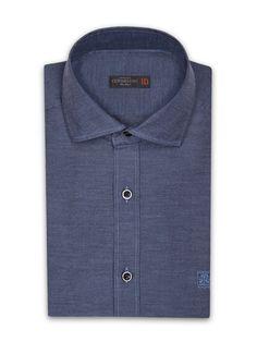 Blue Oxford cotton #shirt, small collar. #Corneliani #FW16 #accessories
