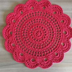 Crochet sousplat made with special string number 6 in red color . Crochet Doily Rug, Crochet Towel, Crochet Dollies, Crochet Doily Patterns, Granny Square Crochet Pattern, Crochet Tablecloth, Crochet Designs, Crochet Stitches, Knit Rug