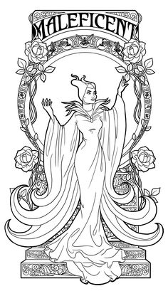 Maleficent - Art Nouveau by Paola-Tosca @ deviantART