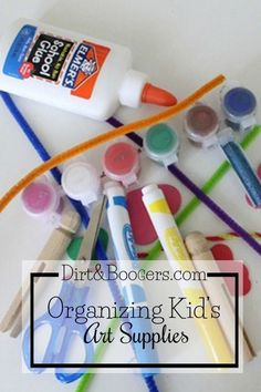 DIY Tips and solutions for making space to create and organizing kid's art supplies in your home. Love this idea!