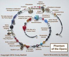 Opera Bracelets   Phantom of the Opera Jewelry   Phantom of the Opera Christmas Gift   Gaston Leroux