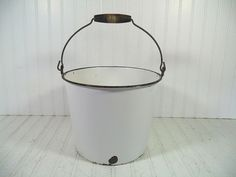 Oversized Shabby Cottage Chic Black on White Enamelware Slop Pail & Wooden Handle - Vintage Porcelain Enameled Steel Very Large Scrub Bucket $42.00 by DivineOrders