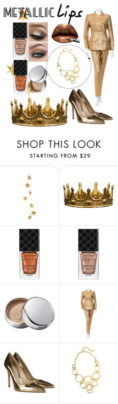 """Metallic"" by zidith ❤ liked on Polyvore featuring beauty, Livingly, Seletti, Gucci, Chantecaille, Chanel, Gianvito Rossi, Lilly Pulitzer and metalliclips"