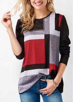 Printed Round Neck Long Sleeve Black T Shirt on sale only US$30.16 now, buy cheap Printed Round Neck Long Sleeve Black T Shirt at liligal.com