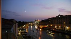 Venice, Italy.  View from the rooftop bar of our hotel, Hotel Carlton on the Grand Canal.  September 2011.