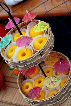 Luau + Surf themed birthday party FULL of ideas! Via Kara's Party Ideas | KarasPartyIdeas.com.  Not sure what this is.  Maybe a Tropical Jello?
