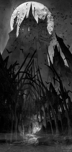 I had to smile that this is a concept sketch for kids film. But I could easily see it for Castlevania! Living Lines Library: Hotel Transylvania - Visual Development: Environment Dark Fantasy, Fantasy World, Gothic Horror, Arte Horror, Gothic Art, Fantasy Kunst, Fantasy Art, Fantasy Series, Castlevania