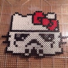 Stormtrooper Hello Kitty  perler beads by knoxy_beads