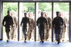 Soldiers of 3rd Brigade Combat Team, 10th Mountain (Light Infantry) Division, march into the Magrath Sports Complex in Fort Drum, N.Y., on July 8, 2014 after a nine-month deployment. The 3BCT deployed to Afghanistan as a security force advice assist brigade in support of Operation Enduring Freedom. Source: http://www.dvidshub.net/image/1437724/spartan-soldiers-celebrate-their-safe-return#.U-O7a_ldVGs