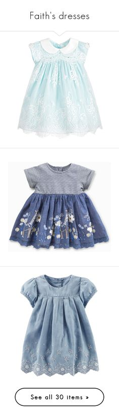 """""""Faith's dresses"""" by threelittlebeans ❤ liked on Polyvore featuring baby, baby girl, tops, blouses, blue top, layered blouse, double layer top, ruffle sleeve top, flutter sleeve top and dresses"""