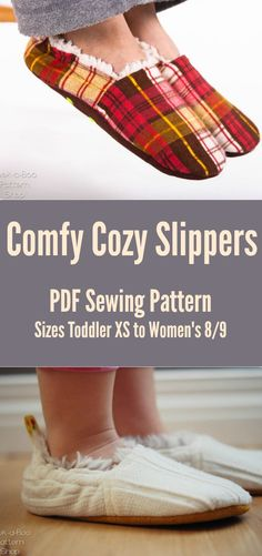 These slippers have been perfect for birthday, Christmas, and anytime presents for family and friends. Comfy Cozy Slippers: Slippers Sewing Pattern, Kids Slippers, Toddler Slippers, Women's Slippers, PDF Sewing Pattern #sewing #sewingpattern #ad #slippers #diy