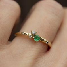 Emerald Wedding Rings, Emerald Ring Engagement, Engagement Ideas, Salt And Pepper Diamond, Emerald Stone, Gold Jewelry, Jewellery, Diamond Bands, Beautiful Rings
