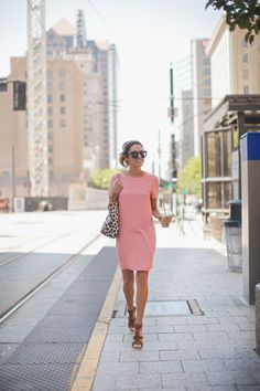 Shirt Dress + Neutral Sandals || spring work outfit