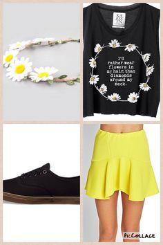 Amazon Skater Skirt.....Forever 21.....$13.80 Daisy Headband.....Tilly's.....$7.99 Black Shoes.....Vans.....$45.00