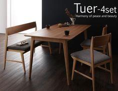 天然木北欧スタイルダイニング 【Tuer】テューレ/4点セット(テーブル+チェア×2+ベンチ) 送料無料でお届けします。