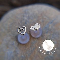 Tiny bird TRAGUS SET Sterling silver Labret /16 gauge/ by lopic