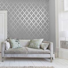 Henderson Interiors Camden Trellis Wallpaper Soft Grey / Silver (H980527) - Wallpaper from I love wallpaper UK
