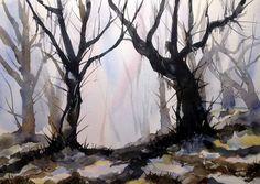 Vinter i skoven Painting Process, Pictures To Paint, Vibrant Colors, Watercolor, Landscape, Nature, Inspiration, Art, Pen And Wash