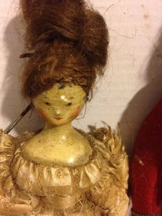 Antique Wooden Dolls IN Period Costume 6 Inches MAN Woman | eBay