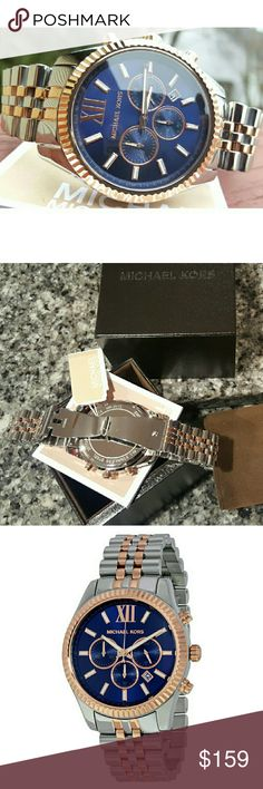 Men's Michael Kors Lexington 45mm watch MK8412 New Authentic MK8412 / Model: Lexington / Retail: $275 / Charming two-tone silver and rose gold stainless steel with blue chronograph dial / Michael Kors watch box and owners booklet included / 45mm case / 10 ATM / UPC: 796483174887 / No trades, buy now or offer only - Same business day shipping Michael Kors Accessories Watches