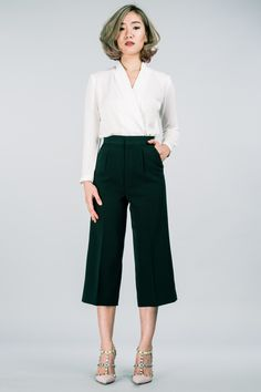 Green culottes  #solasabrand #pants #trousers #madetoorder