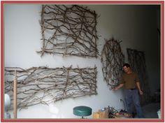twig art (with christmas tree lights!?)