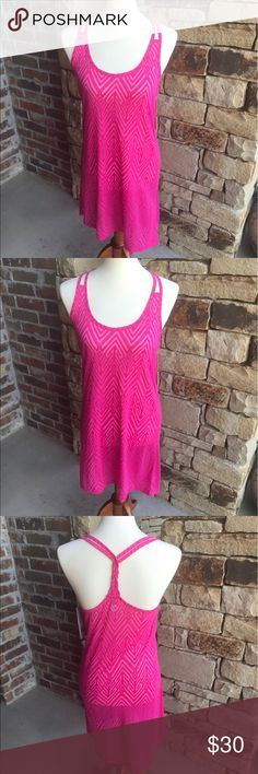 NWT hot pink swim coverup NWT Small hot pink swim coverup ☀️ burnout like polyester/rayon blend ☀️ My dress form is a size medium so it's tighter in the photos than would be on for a small Balance Coverup Collection Swim Coverups