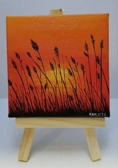 """MINI FIELD PAINTING with easel 3"""" x 3"""" Canvas Acrylic painting Sunset painting Sunset Art Beautiful Painting Sunrise Art Fall Decor Rustic"""