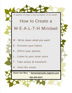 Do you have the mindset ?  contact conniegiggles63@hotmail.com www.connieeagles.isagenix.com