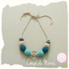Collar de lactancia a crochet tonos Azules  http://keepcalmcrocheton.artesanum.com