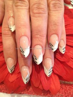 The Edge Pink And White Acrylic With Freehand Nail Art Cute Beautiful