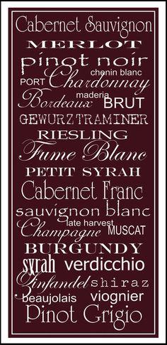Subway Art Sign Wine List Typography Print 10x20