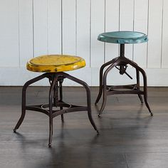 """in red!! TEXAS SPINNING ADJUSTABLE STOOL--Discovered at a Texas antique fair, our iron spinning stool reproduces the charm and utility of the original, including the mechanism that elevates the revolving seat. Imported. Exclusive. 15-1/2"""" dia. x 17-1/4""""H"""