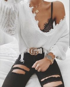 Loose Ripped V Neck Sweater Typ: Pullover . - Loose Ripped V Neck Sweater Typ: Pullover … – – - Winter Mode Outfits, Winter Outfits Women, Fall Outfits, Summer Outfits, Black Outfits, Evening Outfits, Emo Outfits, Grunge Outfits, Fashion Mode