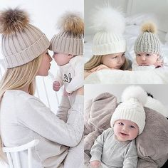 2PCS Mom Mother+Baby Knit Pom Bobble Hat Kids Girls Boys Winter Warm Beanie Cap in Clothing, Shoes & Accessories, Women's Accessories, Hats   eBay