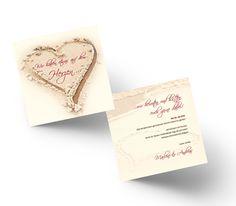Romantische Save the Date Karte mit Herz im Sand. Save The Date Karten, Place Cards, Dating, Place Card Holders, Card Wedding, Invitations, Heart, Qoutes
