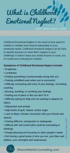 What is Childhood Emotional Neglect? - Sharon Martin, LCSW Counseling San Jose and Campbell, CA Mental And Emotional Health, Mental Health Awareness, Emotional Abuse Quotes, Ptsd Awareness, Emotional Awareness, What Is Childhood, Childhood Quotes, Inner Child Healing, Trauma Therapy