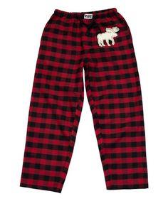 7c0bd9240c Lazy One Red   Black Buffalo Check Moose Pajama Pants - Men