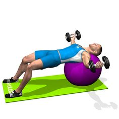 The dumbbell flyes exercise, performed both on a flat bench and on a stability ball, focuses on the whole chest, but in particular on the external part. This exercise involves the anterior deltoid as a secondary muscle.