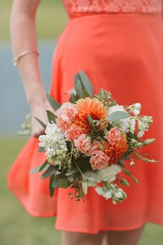 dahlia bouquet, photo by Hot Metal Studio http://ruffledblog.com/white-barn-wedding #weddingbouquet #flowers