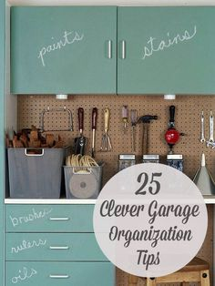 25 Totally Clever Garage Organization Tips & Tricks - awesome ideas especially for getting everything inside during wet winter months!if only I had a garage. Organisation Hacks, Garage Organization Tips, Garage Storage, Storage Organization, Organizing Tips, Garage Ideas, Organising, Genius Ideas, Clever Tips