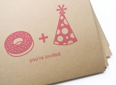 12 donut & party hat invitations // free personalization and custom color. $13.50, via Etsy.