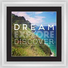Dream Explore Discover Framed Print, White, Classic, White, Black, Single piece, 16 x 16 inches, White